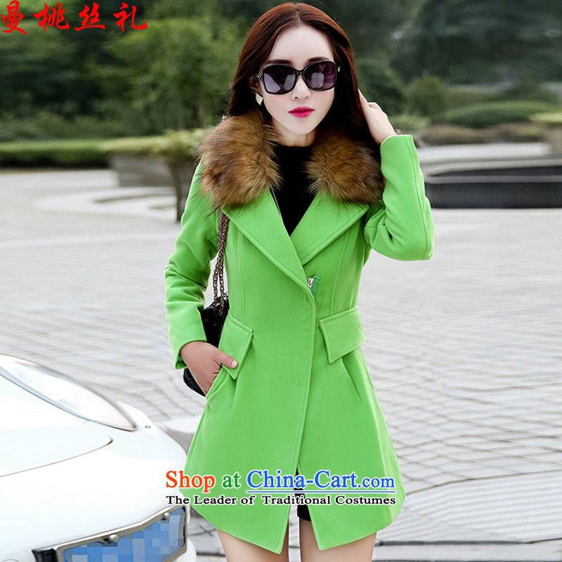 Cayman commercial population ceremony for autumn and winter female gross? female Korean coats tasteful minimalist gross butted long)?   a wool coat wind jacket female greenL