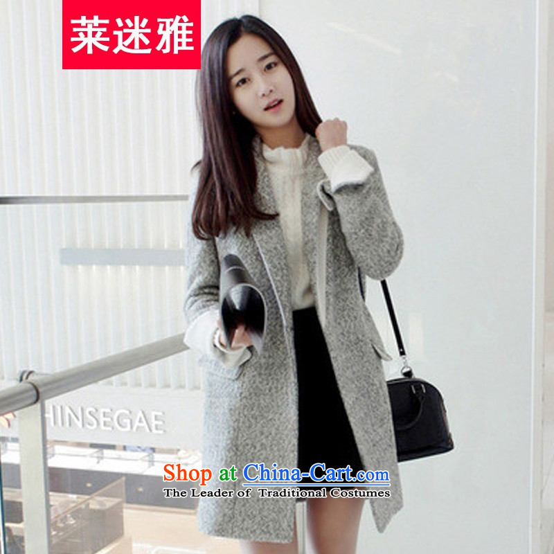 Gloria mini-ya 2015 new video a thin coat of autumn and winter female winter clothing Korean girl in gross? jacket long thick gray M
