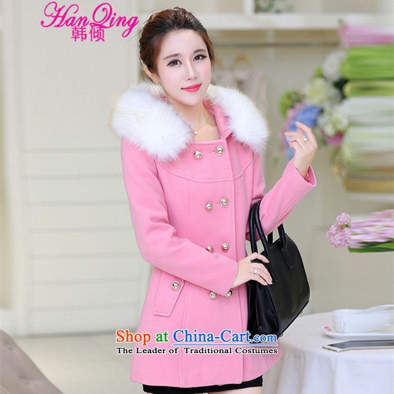 _hanqing dumping_ won 2015 autumn and winter new gross for the medium to longer term, Sau San cap thick hair? 8864 pink jacket coat燣