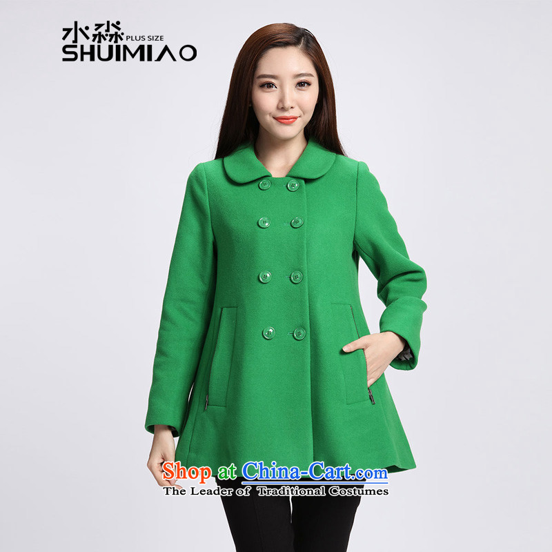 The representative of the water for larger women 2015 autumn and winter new double-wool a thick green grass S15DM5800 female jacket�L