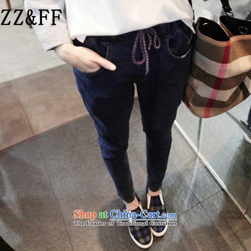 2015 Autumn and winter Zz_ff new Korean female cowboy elastic elastic castor thick MM thin blue trousers燲L_100-135_ graphics