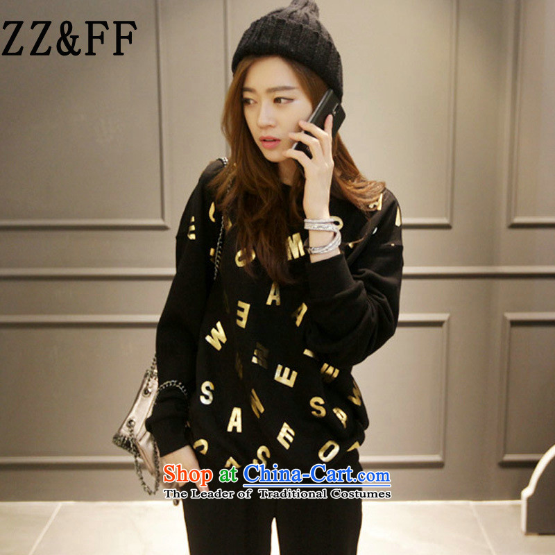 2015 Autumn and winter Zz_ff new Korean thick MM bushing and letters sweater girl video thin long-sleeved jacket燲XXL black