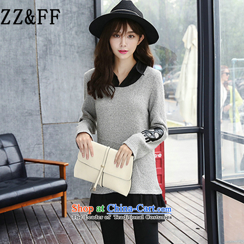 2015 Autumn and winter Zz_ff new Korean large relaxd gauze stitching package and short knitting dress female video thin long-sleeved shirt T-shirt, forming the map color燲L