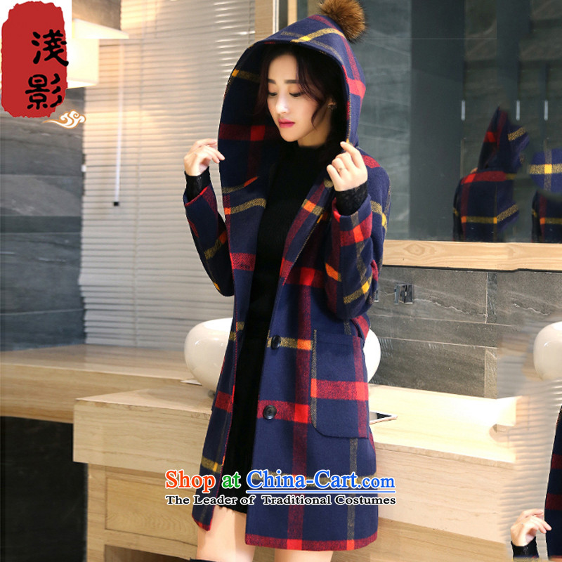 Light film 2015 autumn and winter new Korean female coat? gross thin in the Video   long wild Tai Mo collar tartan sub-jacket red and yellow, L