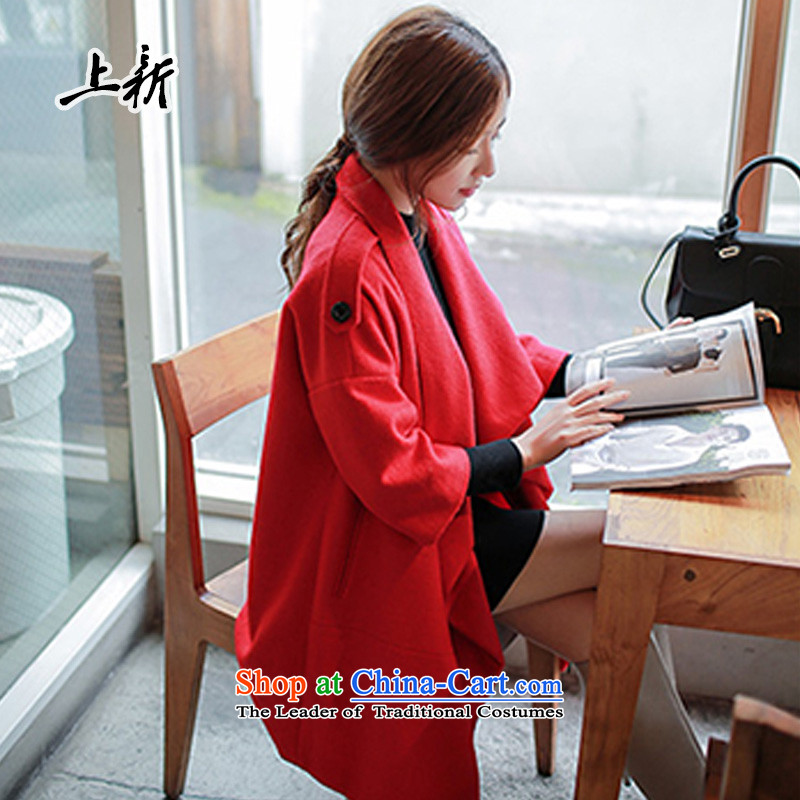 On the new 2015 autumn and winter new women's woolen a wool coat large Korean loose cloak over the medium to longer term gross HM-8171 jacket red聽S?