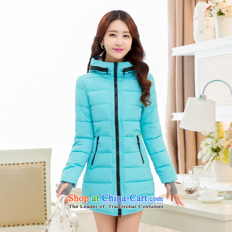 The Doi plus hypertrophy code women thick cotton clothes for winter MM coat in long new thick sister 2015 warm 200 catties blue聽3XL recommendations 140-155 catty