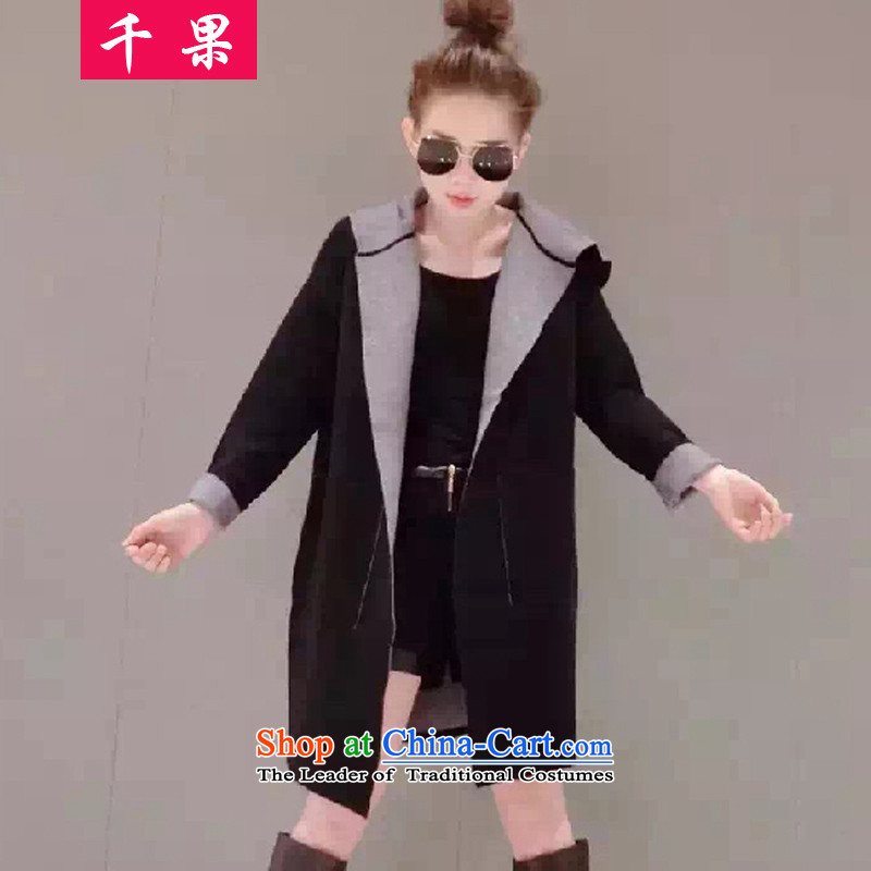 The results of the European station 2015 thousands of autumn and winter new Korean Edition to increase the number of wool coat of Sau San Fat MM loose? windbreaker video thin coat?around 922.747 4XL160-175 579.5 black