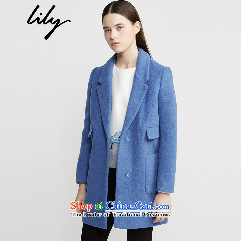 Lily winter clothing decorated new women's body at the time in pure color long hair? Blue -47 114420H1112 Jacket Color160_84A_M