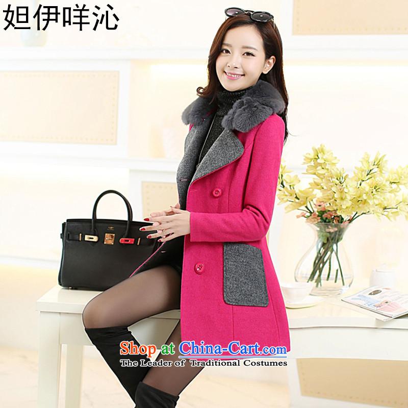 Hoda Badran El Meh Qinyang 2015 autumn and winter new Korean spelling colors are Sau San jacket in long a wool coat female9009in red  XL