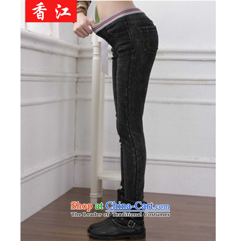Xiang Jiang?2015 increased to large pants pencil female thick mm autumn replacing new jeans 200 catties thick forming the elastic trousers?2163 sister?snowflake colors plus large 5XL lint-free