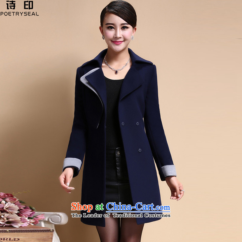 Poetry printed a wool coat women 2015 new temperament Sau San Mao jacket? navy blue dress?XXXXL