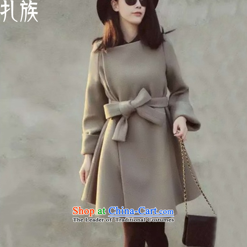 Tie-wool coat female jacket won? Edition cashmere cloak in long winter 2015 new gray燬