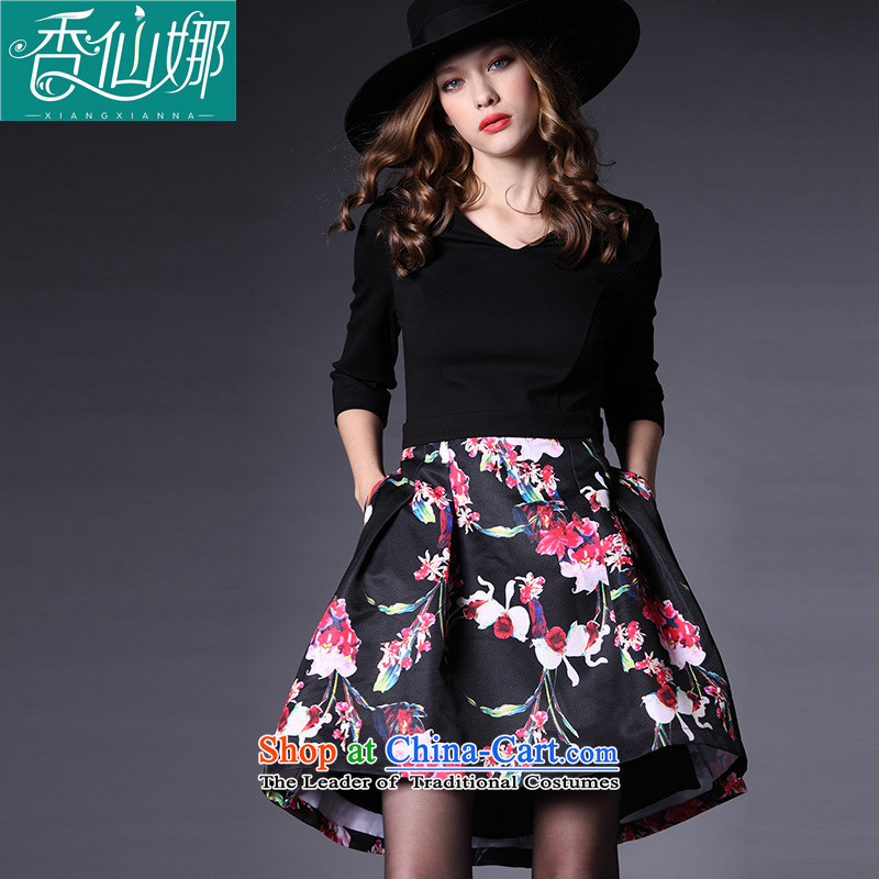 The maximum number of incense sin women�15 Autumn replacing new 200 catties thick mm to intensify the flower graphics thin forming the dresses picture color Large XXXL code