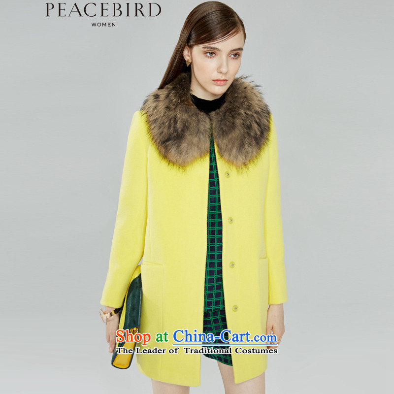 - New shining peacebird Women's Health 2015 winter clothing new products round-neck collar cocoon-coats A4AA54419 YELLOW燣