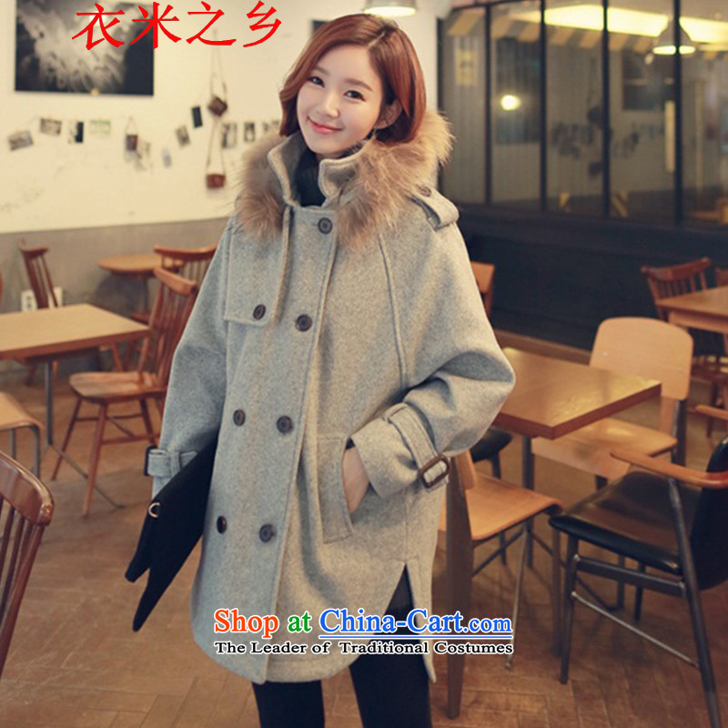 Yi m township of the 2015 autumn and winter coats that Ms. long stylish solid color leisure Sau San Mao? So coat jacket coat women 1569 gray S