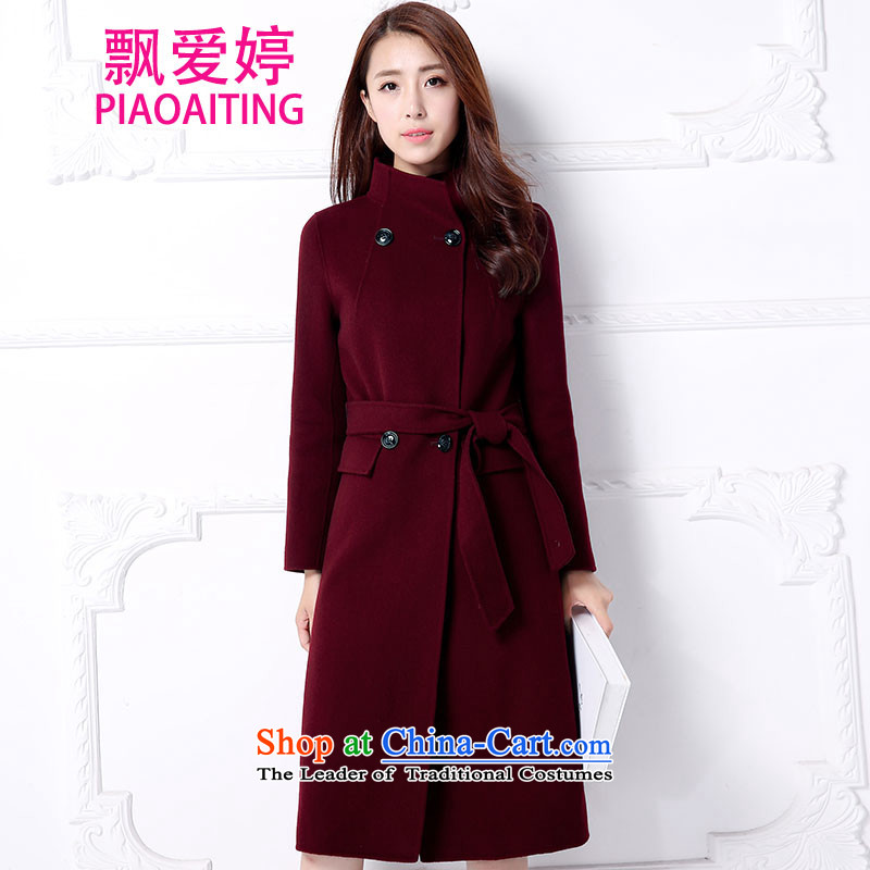 Piao Love Ting 2015 Autumn replacing new products in the long graphics thin cashmere overcoat with solid color waistband female wine red L