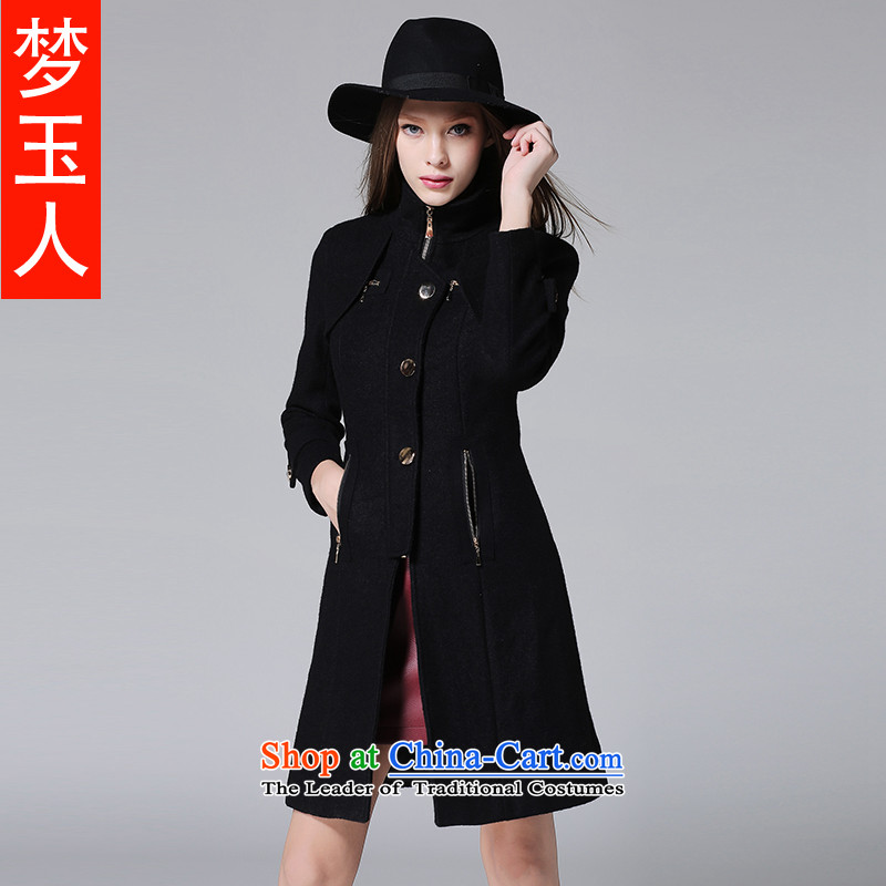 2015 winter clothing new Wool Velvet-thick black? plus windbreaker western style high-end in the collar of gross?? coats black jacket female plus lint-free thick L