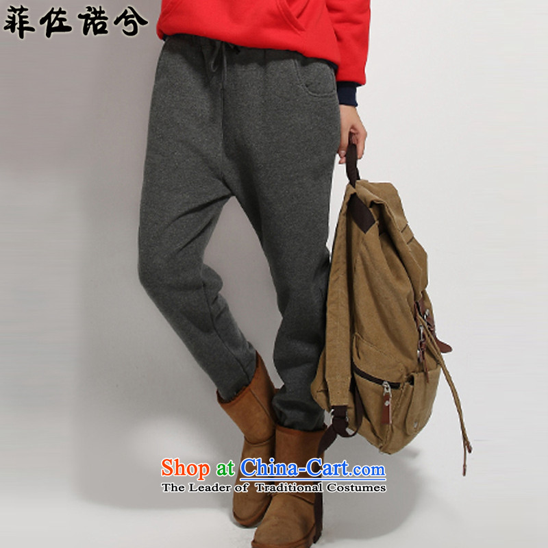 The officials of the fuseau larger female autumn and winter to increase the number of casual pants thick mm heavy code pant castor trousers Gray plus XXXL lint-free