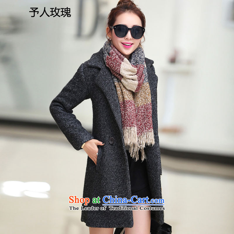 To Rose of autumn and winter 2015 Women's new Korean version of a Korean version of gross? jacket coat Women?   Gross black and gray L