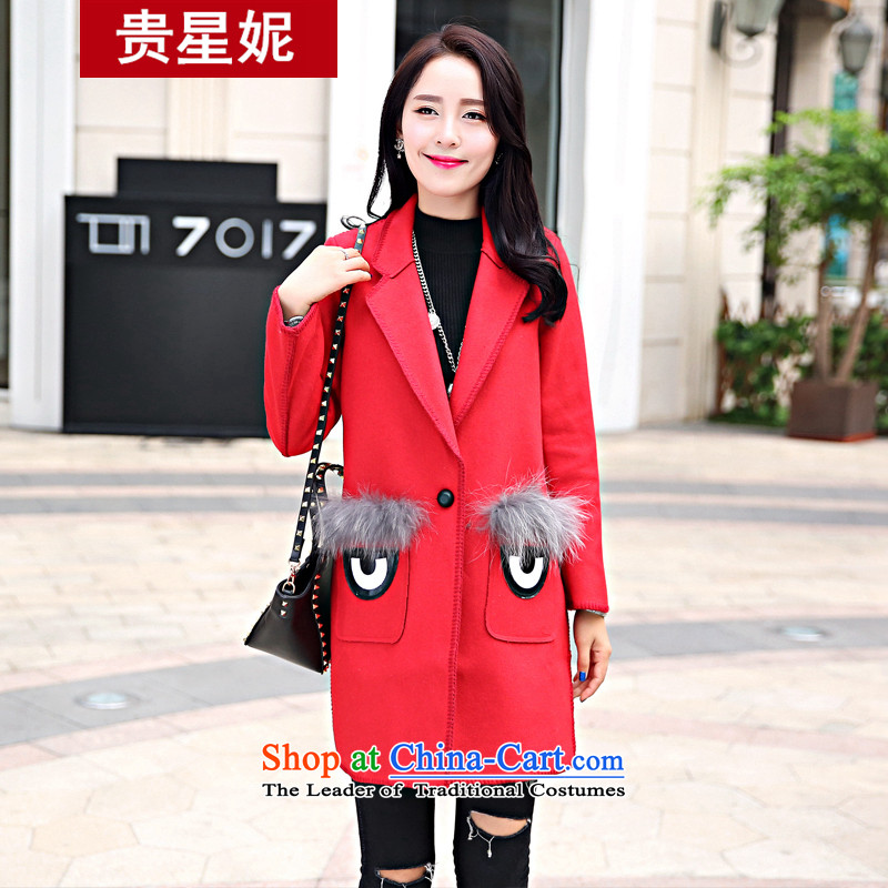 The Star Ni autumn and winter 2015 new sweet temperament gross? Version Korean female jacket long long-sleeved autumn and winter coats of wool ni-RED燤
