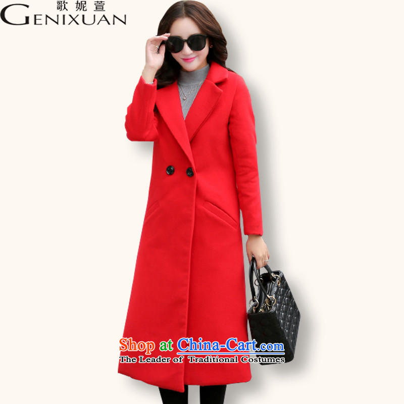 Song Connie declared 2015 autumn and winter new Korean Sau San a wool coat long hair stylish coat female RED  M?