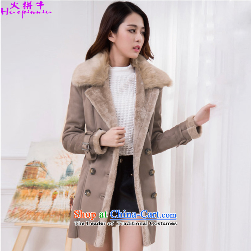 Rush n 2015 winter new Korean version of gross?   The lint-free cloth female coats thick hair for a usual zongzi 888_ Jacket Color� XL