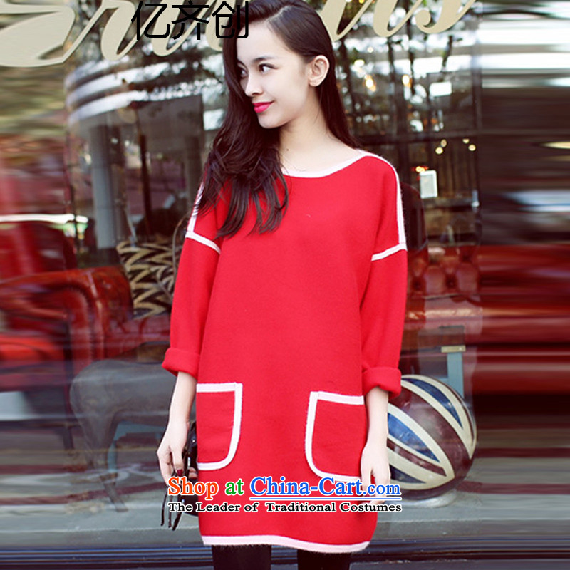 Billionby 2015 to create the girl in the xl long hair? dresses winter200 MM thick long-sleeved relaxd catty, forming the skirtF027REDXL