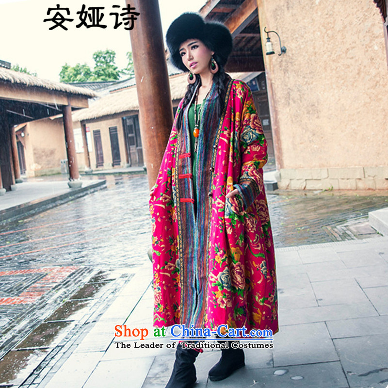 The poem autumn and winter, Tarja Halonen of ethnic retro northeast stamp gross? stitching long cotton linen coat thick coat jacket female Red Mudan are code.