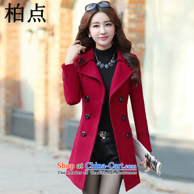 Pak point gross? female 2015 Autumn jacket for women Fall/Winter Collections new Korean long hair in Sau San? 9600 wine red cloak female    XL