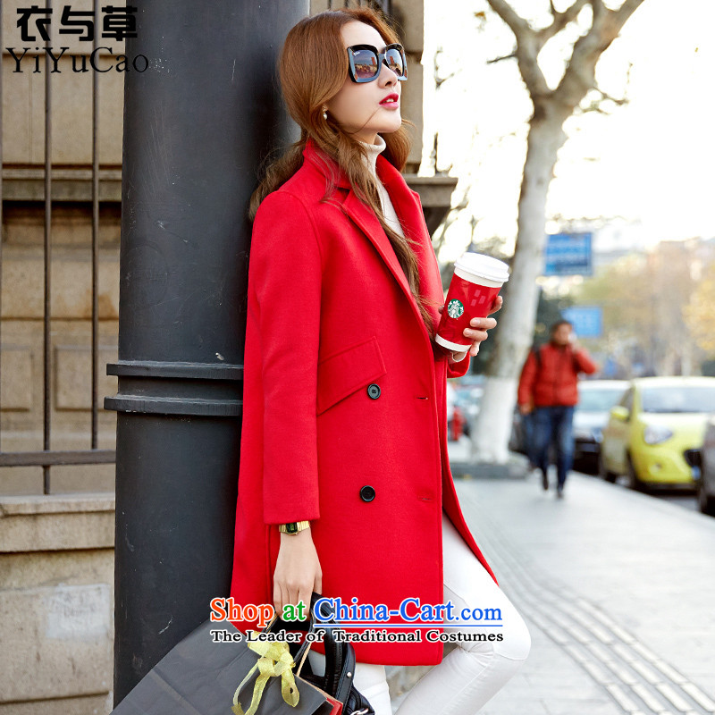 Yi with grass autumn 2015 the new Korean version of gross large loose coat?? graphics thin hair so Coat jacket women, red winter S