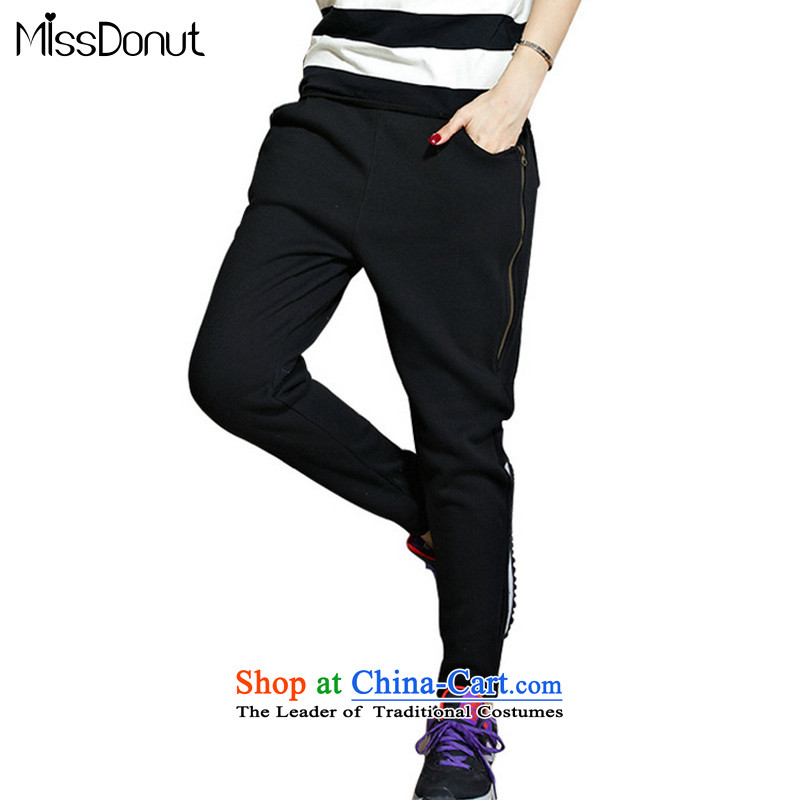The ad to increase missdonut code ladies casual sports trousers 200 catties members thick sister mm thick wool Harun plus Pants length trousers, black large 5XL code