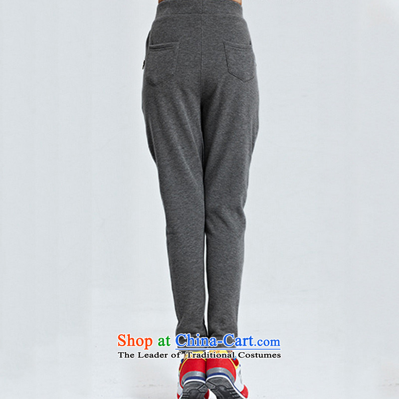 The ad to increase missdonut code ladies casual sports trousers 200 catties members thick sister mm thick wool Harun plus Pants length trousers, black large code 5xl,missdonut,,, shopping on the Internet