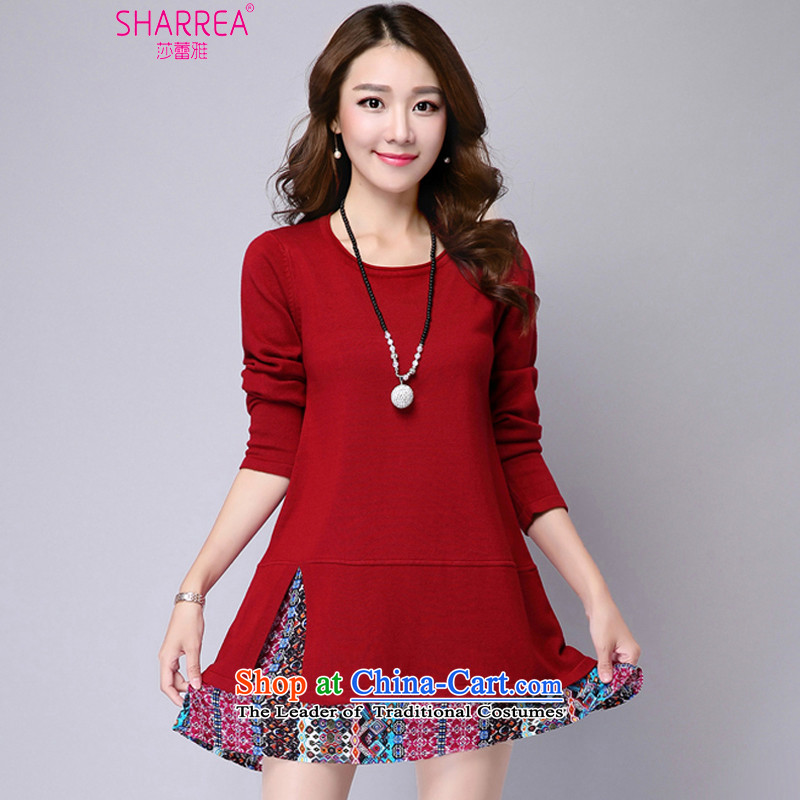 Sarah ya 2015 autumn and winter new larger women in long knitting relaxd dress female 1100 wine redL recommendations paras. 108-118 catty