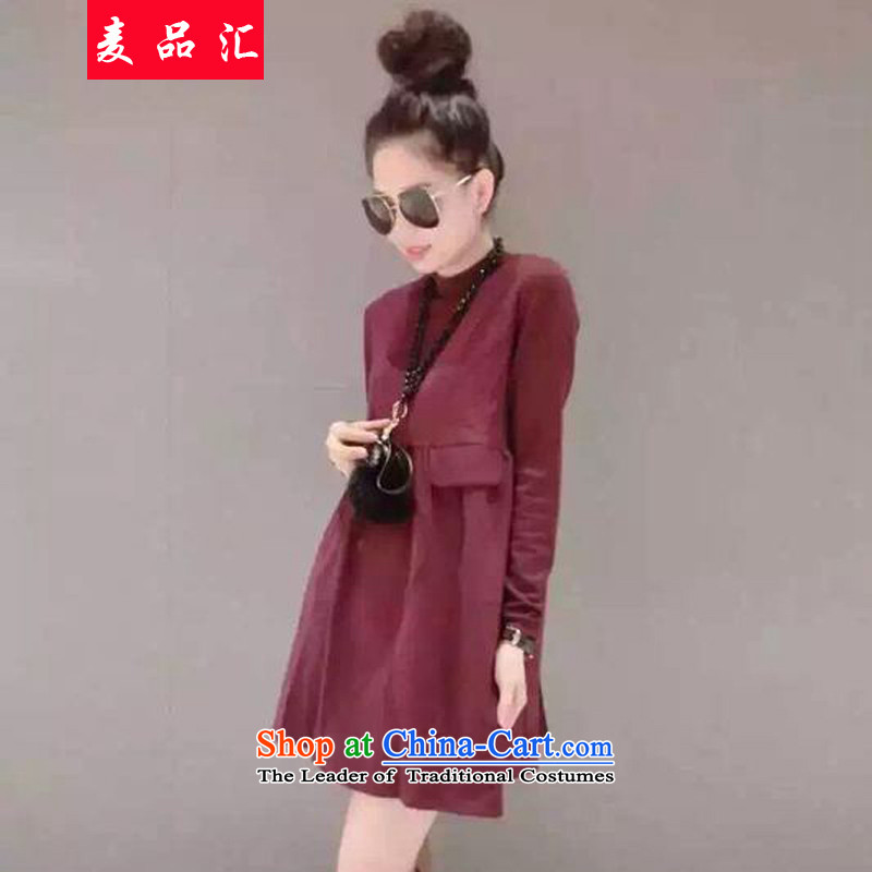 Mr products removals by sinks to xl women fall thick mm Korean New the thin dresses female thick sister 200 catties, forming the long-sleeved supplier wine red�L120-140 skirt around 922.747