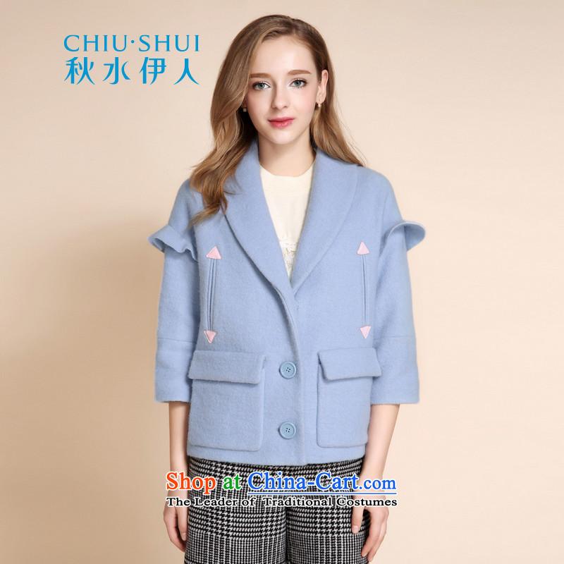 Chaplain who 2015 winter new women's sweet loose lapel niba rotator cuff stitching wool coat jacket pale blue?155_80A_S