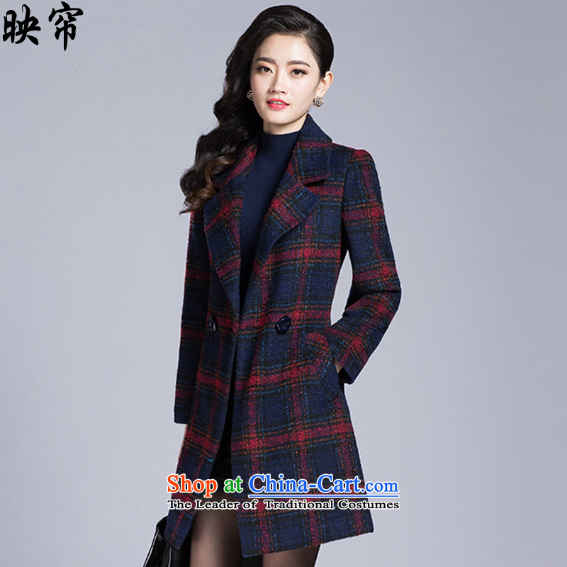 Image of the autumn and winter 2015 curtain New Women Korean fashion sense of long-sleeved elegant gross is checked jacket y1342_ Red Grid燲L