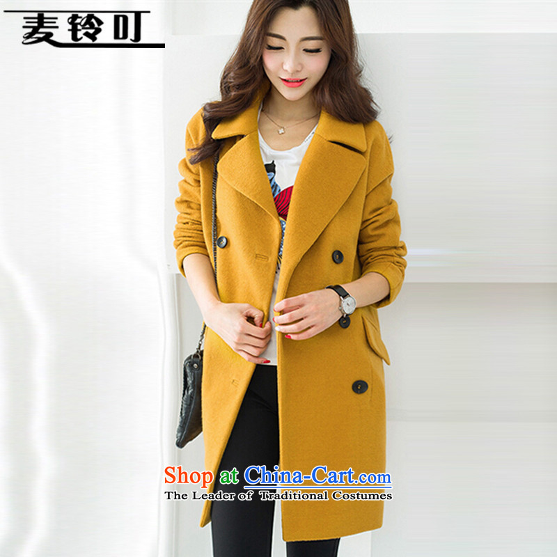 Mr ring bites 2015 autumn and winter new Korean version of large numbers of women in the jacket long coats gross? female 1249 turmeric yellow115-125 L catty
