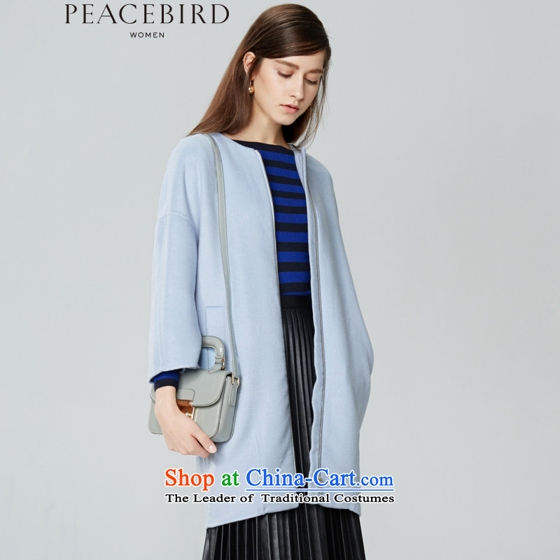 - New shining peacebird Women's Health 2015 winter clothing new products round-neck collar double-side coats A4AA54521 light blue?S