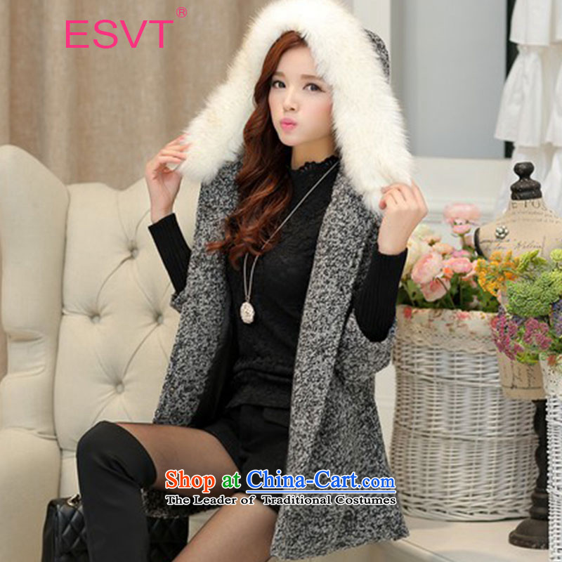 The Korean version of the 2015 Winter ESVT new coats Winter Female gross is stylish and simple graphics thin cuffs knitted Sau San stitching jacket with waistband high female wool for black-and-white燣