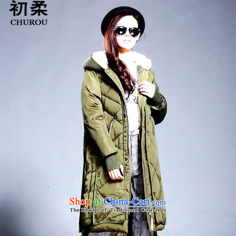 The early winter 2015 New Korea Sophie version of large numbers of ladies thick duvet cotton coat long long, thick MM200 ãþòâ catty can penetrate Army Green XXL