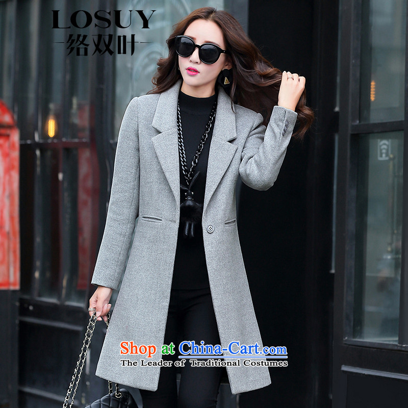 Contact Us dual leaf western temperament a grain of detained women 2015 autumn and winter coats new stylish in Sau San long pure color gray jacket? gross燲L