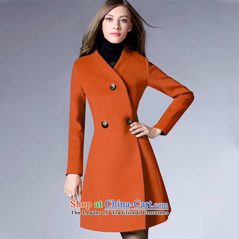 The new ultra long-sleeved 1450_2015 autumn and winter V-neck hair color and coat?M?