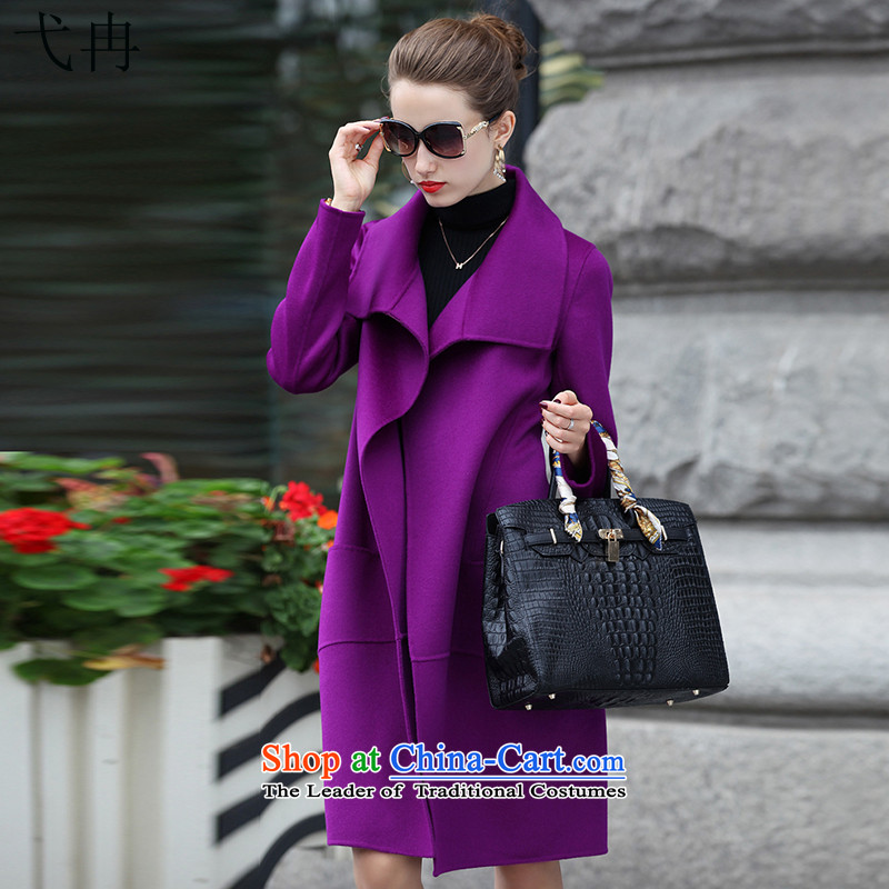 Cruise in the autumn and winter 2015 advanced new for women in Europe and the wind long hair Sau San? female N516 coats violet燲L