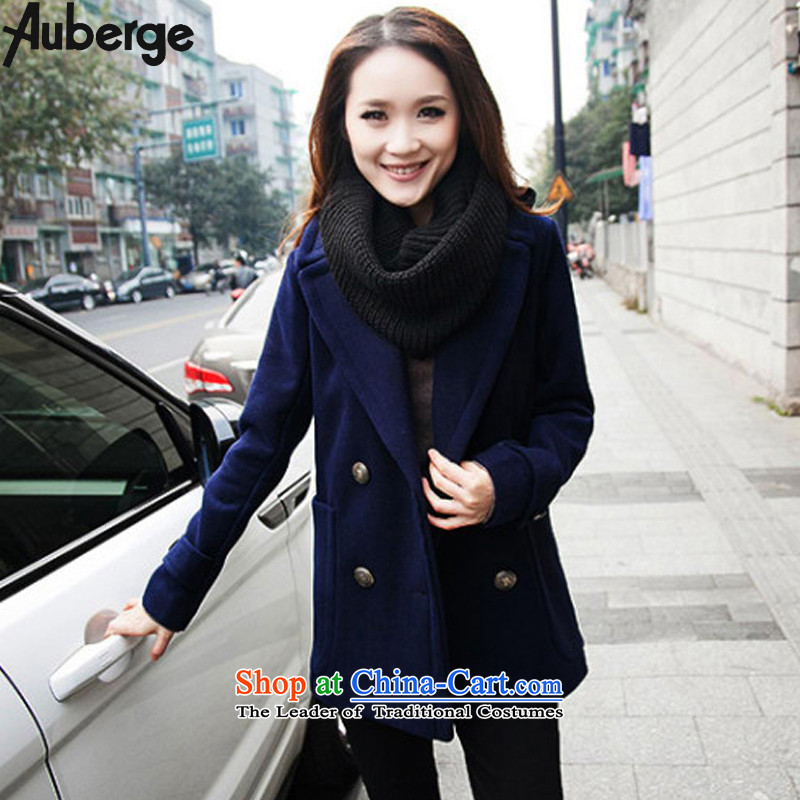 Auberge 2015 to increase the number of women with thick winter clothing Korean mm double-reverse collar video thin hair? large jacket a wool coat?   5XL Dark Blue
