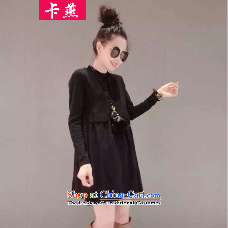 Card Yin  New) Autumn 2015 to increase the number of women's dresses in loose long thick mm200 catty thin A Skirt Graphics Black around 922.747 4XL160-175 supplier