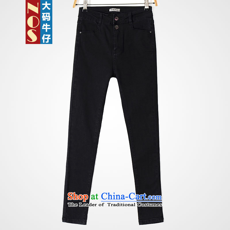 Nos爓inter larger female jeans thick sister Sau San Solid Color Top Loin of cowboy trousers Y80011 black�