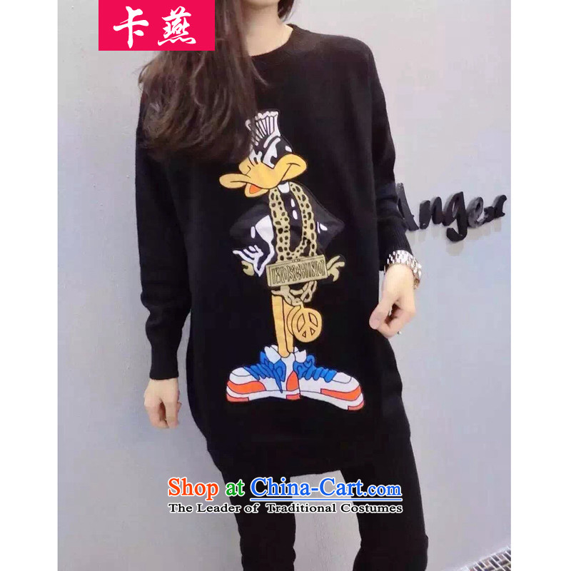 The Korean version of the fall-card installed to increase the new Fat MM long-sleeved T-shirt with round collar stamp cartoon in long woolen pullover loose video Knitted Shirt 5798 thin black5XL175-215 around 922.747