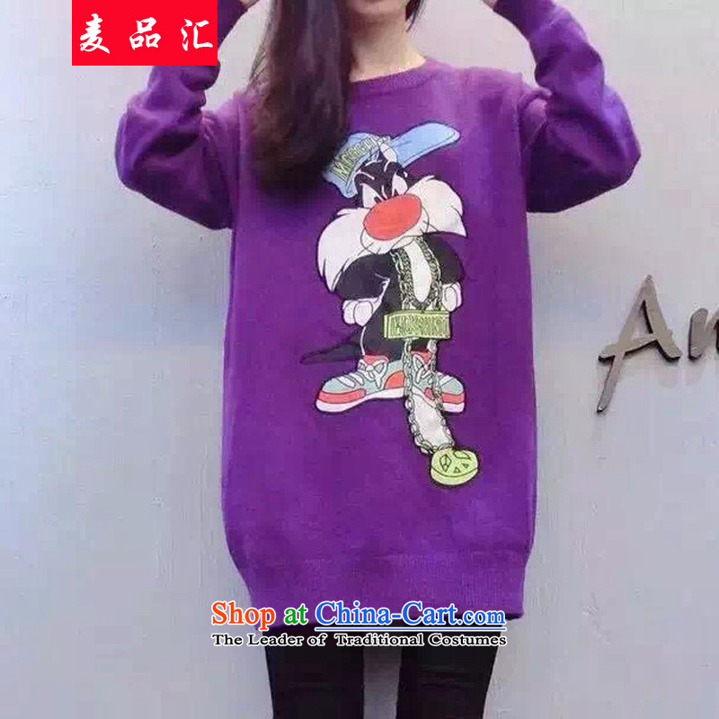 Mr products removals by sinks to xl women Fall_Winter Collections thick mm cartoon stamp loose sweater thick 200 catties video thin sister forming the knitwear 5798 purple聽2XL