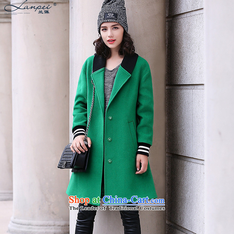 In the autumn of 2015, a new Pei fleece a wool coat in long female temperament lapel Sau San? jacket female Korea gross version crouched S