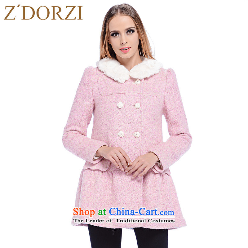 Zdorzi colorful Cheuk-yan winter new women's sweet gross for double-jacket聽928315 gross?聽pink聽L